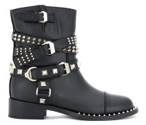 buckle strap studded boots
