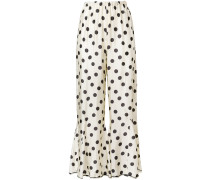 polka-dot flared trousers