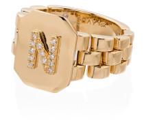 18kt 'N' Gelbgold-Siegelring mit Diamanten