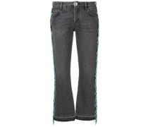 Cropped-Jeans mit Perlenfransen