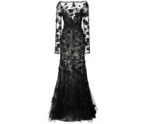 floral-appliquéd lace gown