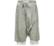 drawstring detail distressed shorts