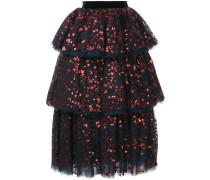 sequin embellished tiered skirt