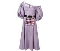 Schulterfreies Kleid mit Karomuster