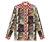 Seidenhemd mit Tiger-Print