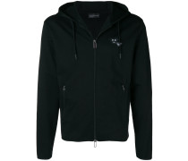 angry logo zip front hoodie