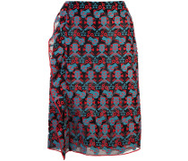 ruffled embroidered pencil skirt