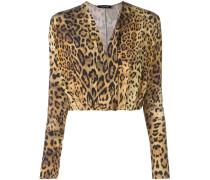 plunge leopard print blouse