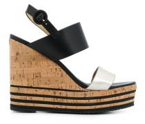 striped cork platform sandal
