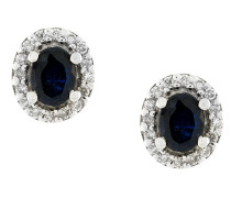 18kt gold, diamond and sapphire stud earrings