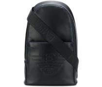 embossed logo backpack