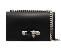 black Jewelled leather satchel bag