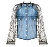 embellished mesh panelled denim jacket