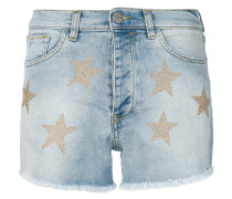 metallic star denim shorts