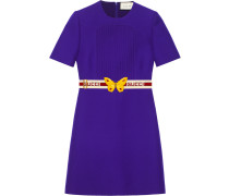 Wool silk pintuck dress with belt