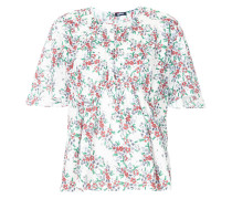 floral-print gathered shirt