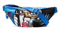 Blue comic print belt bag