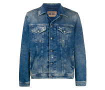 Trucker jacket in ripped denim
