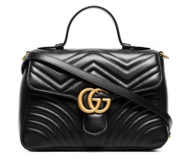 black GG marmont large leather top handle bag