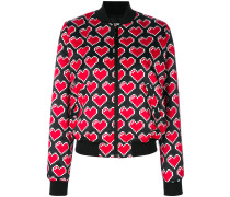 printed heart bomber jacket