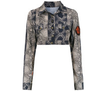 Cropped-Jacke mit Print