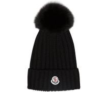 Black wool beanie hat with pom pom