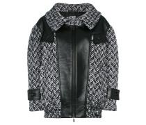 Tweed-Jacke mit Lederdetails