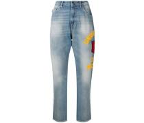 Boyfriend-Jeans mit seitlichem Print