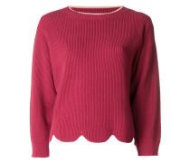 cropped scalloped hem sweater