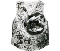semi sheer graphic vest
