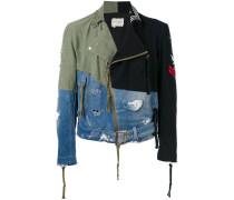 Destroyed-Jeansjacke mit Kontrasteinsätzen