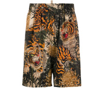 Lounge-Shorts mit Tiger-Print
