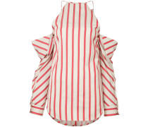 striped collapsed sleeve top