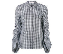 gingham ruched-sleeve shirt