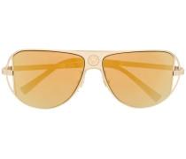 medusa logo aviator frame sunglasses