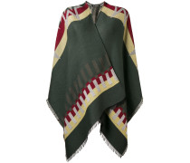 contrast fringed poncho