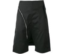 drop crotch zip shorts