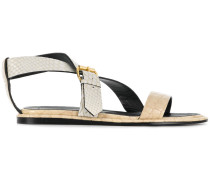 python-embossed crossover sandals