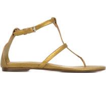 Metallische Sandalen mit flachem Absatz