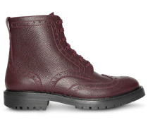 Brogue Detail Grainy Leather Boots