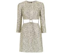 cut out detail jacquard dress
