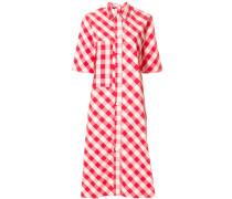 gingham print shirt dress