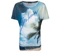 Linen T-shirt with  logo print
