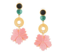 beaded drop flower earrings