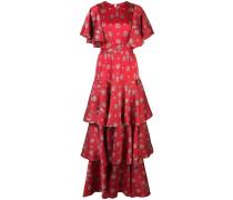 tiered printed silk dress