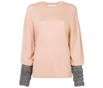contrast-cuff slouched top