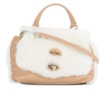 Kontrastierende 'Postina' Shearling-Handtasche