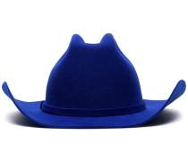 blue logo embroidered rabbit fur cowboy hat