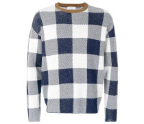 long-sleeve check sweater