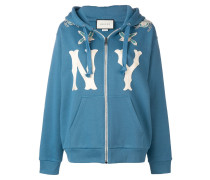 'NY' patch hooded jacket